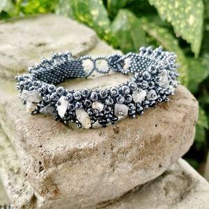 Boho Dark Grey & White Beaded Adjustable Bracelet